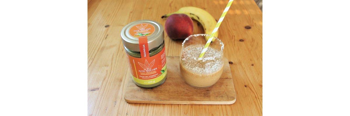 Pfirsich-Bananen-Smoothie mit unserem Jutepulver - Smoothie selber machen – Pfirsich-Bananen-Smoothie mit Jute-Pulver